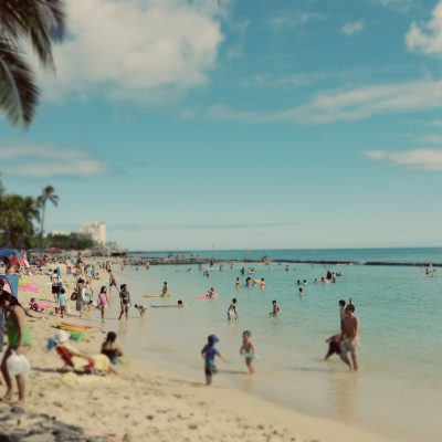 Crowded Waikiki Beach, Honolulu