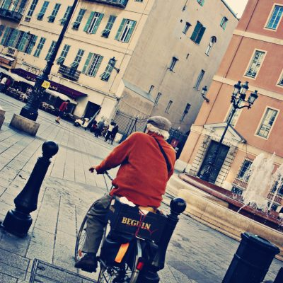 Nice, France. Old Man on Bike.
